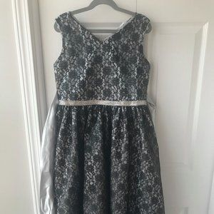 Ellie Kids 12 dress and silver sparkle sweater